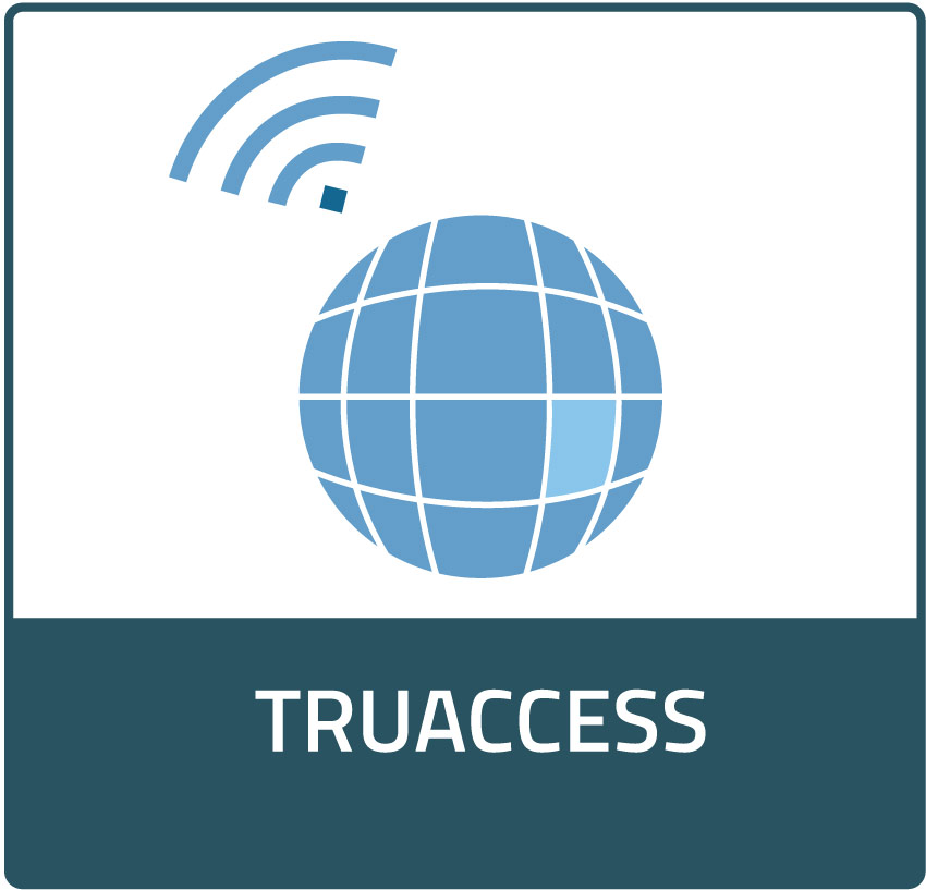 TruAccess Product Icon, hyperlinks to Solutions page. Icon is a blue globe with grid lines and a Wi-Fi symbol in the top left.