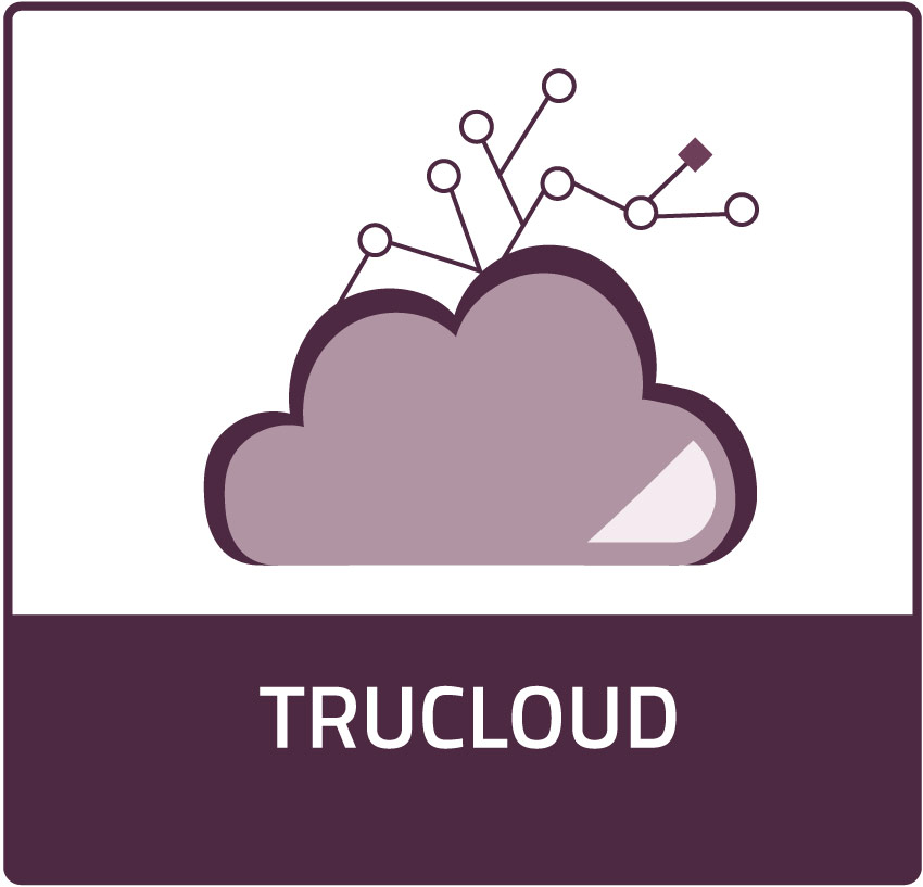 TruCloud Product Icon, hyperlinks to Solutions page. Icon is a purple cloud with lines connected with circles as hinges forming a web above.