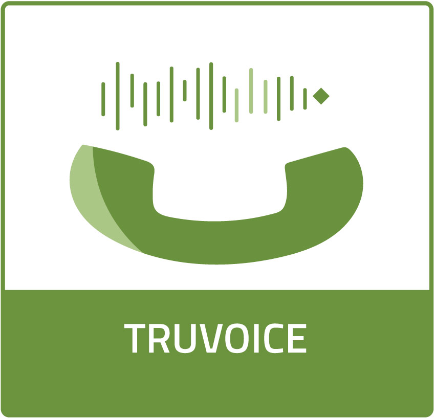 TruVoice Product Icon, hyperlinks to Solutions page. Icon is a green land-line phone receiver facing upwards, multiple vertical straight lines of different sizes are located between the phone ends.