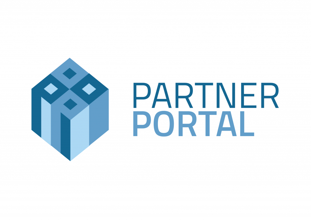 Partner Portal Logo. A blue cube with it's corner facing forwards and top visible. On the left side the letter 'P' is visible twice.